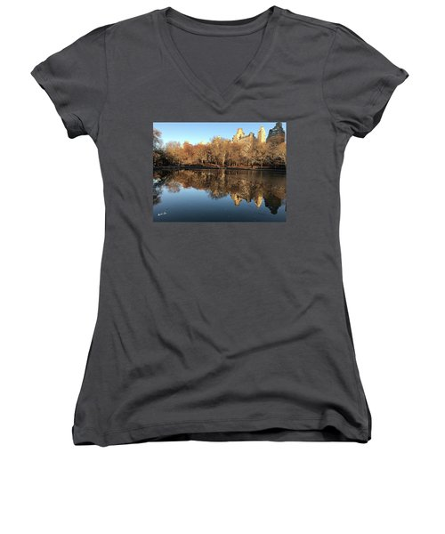 Women's V-Neck T-Shirt (Junior Cut) featuring the photograph Central Park City Reflections by Madeline Ellis
