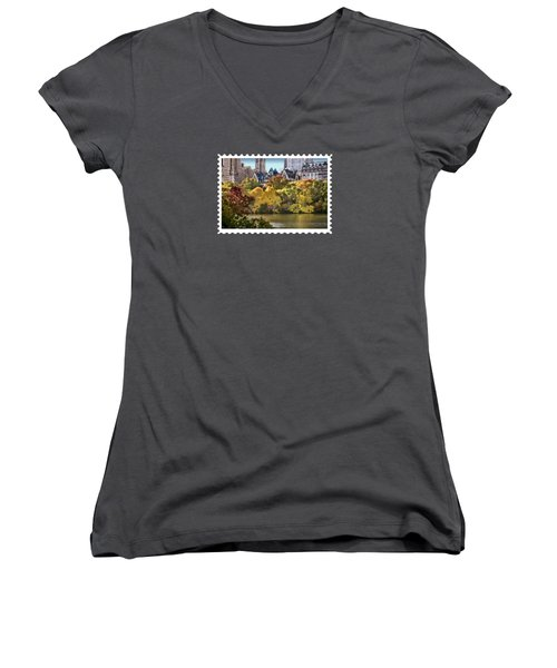 Central Park Lake In Fall Women's V-Neck T-Shirt (Junior Cut) by Elaine Plesser
