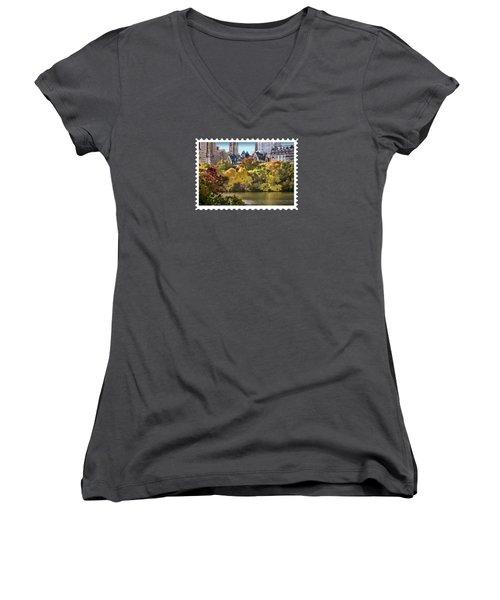 Central Park Lake In Fall Women's V-Neck T-Shirt