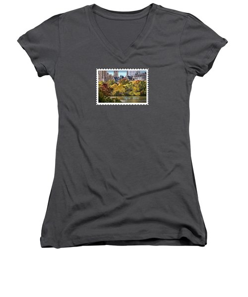 Central Park Lake In Fall Text New York Women's V-Neck T-Shirt (Junior Cut) by Elaine Plesser