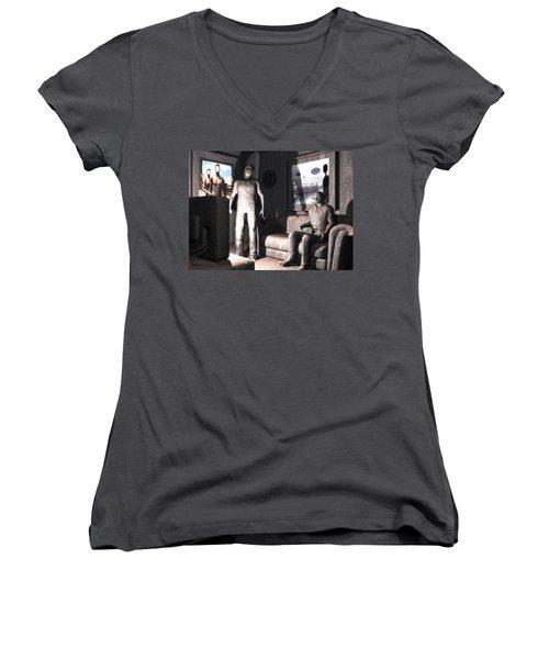 Cerebral Incinerator Women's V-Neck T-Shirt (Junior Cut) by John Alexander