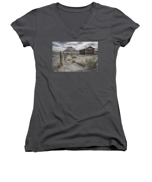 Women's V-Neck T-Shirt (Junior Cut) featuring the tapestry - textile Cerro Castellan - Big Bend  by Kathy Adams Clark