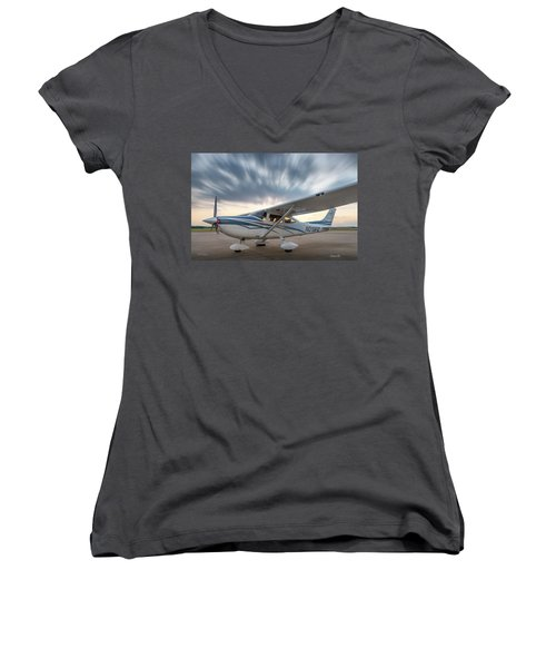 Cessna 182 On The Ramp Women's V-Neck (Athletic Fit)