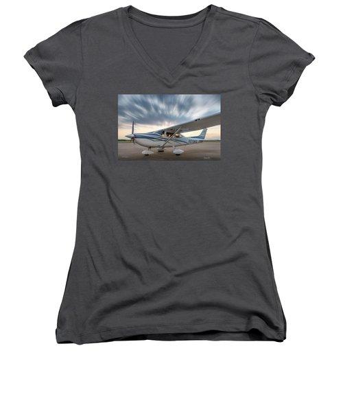 Cessna 182 On The Ramp Women's V-Neck