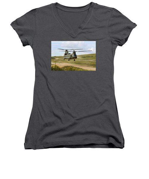 Ch47 Chinook In The Dust Bowl Women's V-Neck T-Shirt (Junior Cut) by Ken Brannen