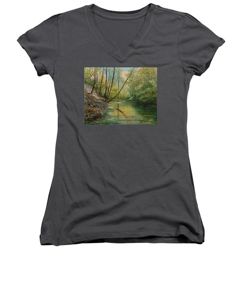 Chagrin River In Spring Women's V-Neck T-Shirt
