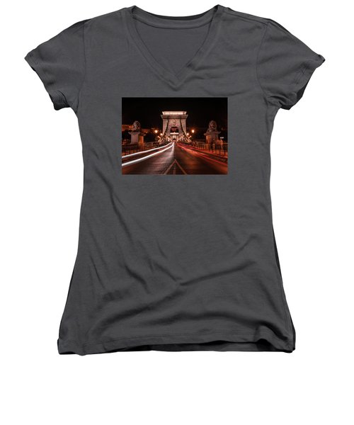 Chain Bridge At Midnight Women's V-Neck T-Shirt (Junior Cut) by Jaroslaw Blaminsky