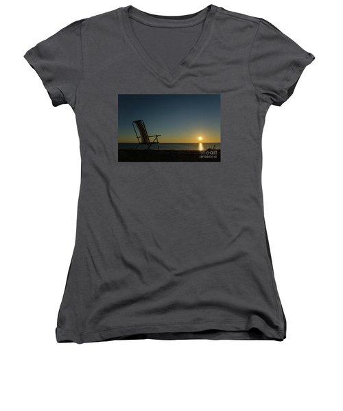 Women's V-Neck T-Shirt (Junior Cut) featuring the photograph Chair By The Setting Sun by Kennerth and Birgitta Kullman
