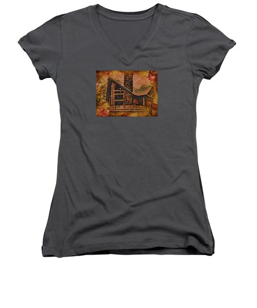 Women's V-Neck T-Shirt (Junior Cut) featuring the digital art Chalet In Autumn by Kathy Kelly