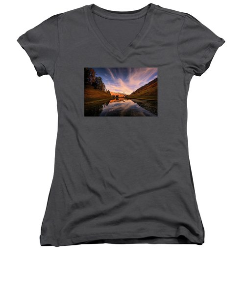 Chalet With An Autumn View Women's V-Neck (Athletic Fit)