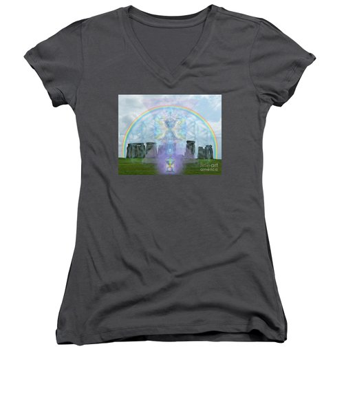 Chalice Over Stonehenge In Flower Of Life And Man Women's V-Neck (Athletic Fit)