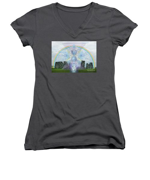 Chalice Over Stonehenge In Flower Of Life Women's V-Neck T-Shirt (Junior Cut) by Christopher Pringer