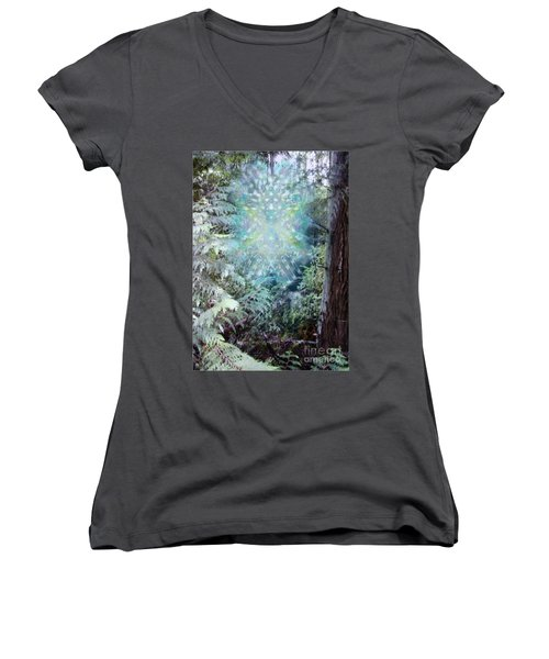 Chalice-tree Spirit In The Forest V3 Women's V-Neck T-Shirt (Junior Cut) by Christopher Pringer