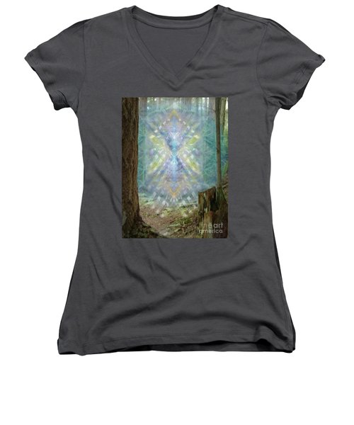 Chalice-tree Spirt In The Forest V2 Women's V-Neck T-Shirt (Junior Cut) by Christopher Pringer