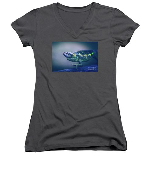 Women's V-Neck T-Shirt (Junior Cut) featuring the photograph Chamaeleo Jacksonii by Sharon Mau