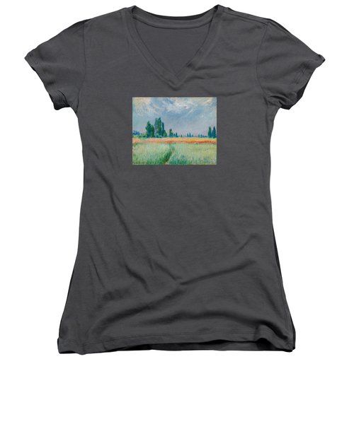 Women's V-Neck T-Shirt (Junior Cut) featuring the painting Champ De Ble by Claude Monet