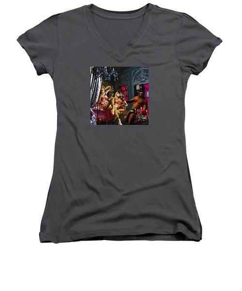 Champagne Shower Women's V-Neck T-Shirt