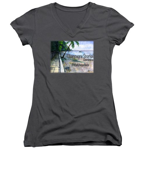 Champagne Snorkel Dominica Shirt Women's V-Neck (Athletic Fit)