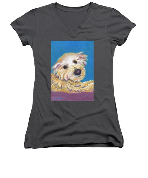 Women's V-Neck T-Shirt featuring the painting Chance by Jamie Frier