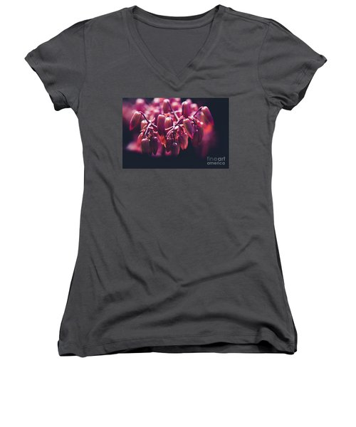 Women's V-Neck T-Shirt (Junior Cut) featuring the photograph Chandelier Plant Kalanchoe - A Solitary Morning by Sharon Mau