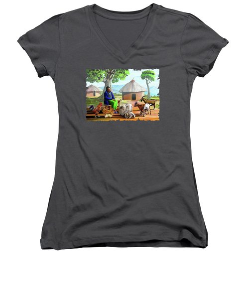 Change Of Scene Women's V-Neck T-Shirt (Junior Cut) by Anthony Mwangi