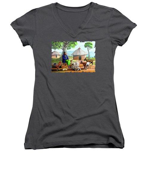 Change Of Scene Women's V-Neck T-Shirt (Junior Cut) by Anthony Mwangi