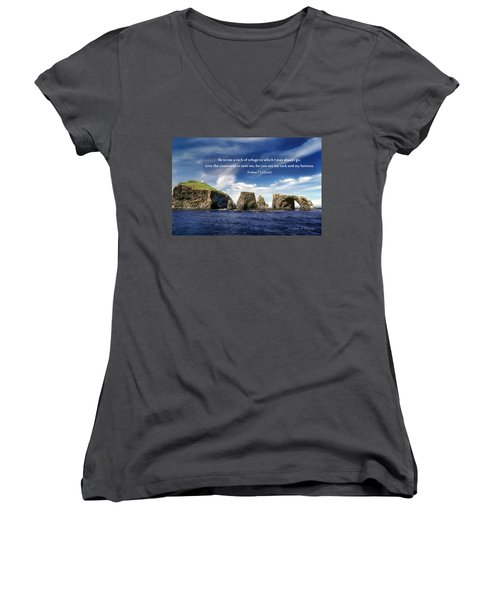 Channel Island National Park - Anacapa Island Arch With Bible Verse Women's V-Neck