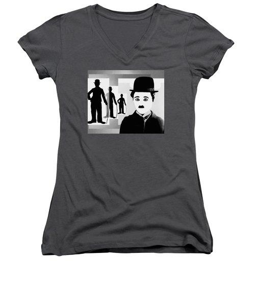 Chaplin, Charlie Chaplin Women's V-Neck T-Shirt (Junior Cut) by Hartmut Jager