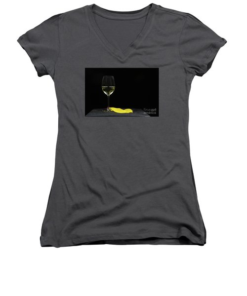 Women's V-Neck T-Shirt featuring the photograph Chardonnay Time by Kennerth and Birgitta Kullman