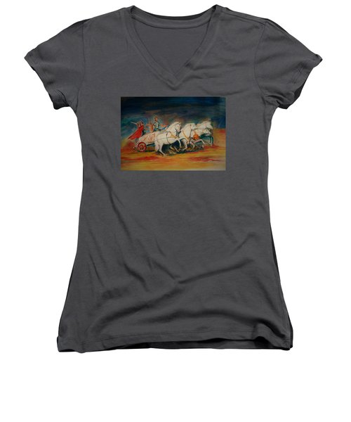Chariot Women's V-Neck T-Shirt (Junior Cut) by Khalid Saeed