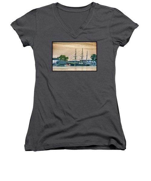 Charles W. Morgan #1 Women's V-Neck T-Shirt (Junior Cut)