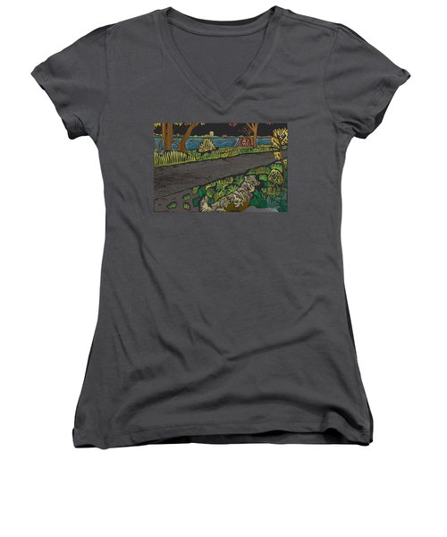 Charlie On Path Women's V-Neck T-Shirt (Junior Cut) by Kevin McLaughlin
