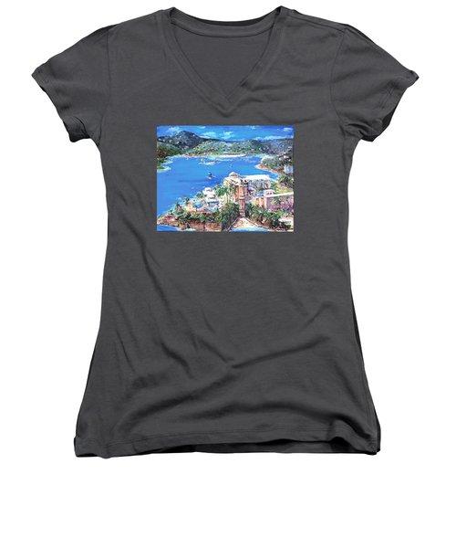 Charlotte Amalie Marriott Frenchmans Beach Resort St. Thomas Us Virgin Island Aerial Women's V-Neck T-Shirt (Junior Cut) by Bernadette Krupa