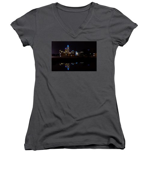 Charlotte Reflection At Night Women's V-Neck (Athletic Fit)