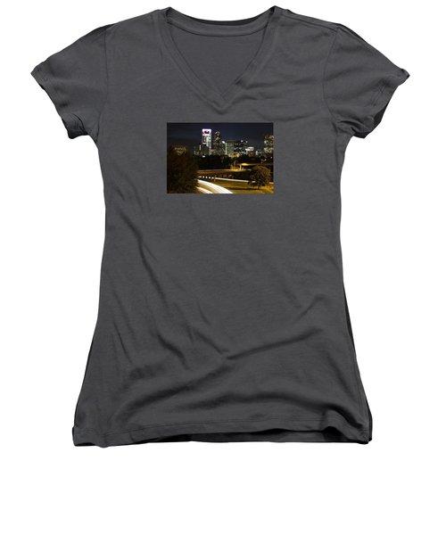 Charlotte's Skyline Women's V-Neck T-Shirt (Junior Cut) by Demetrai Johnson