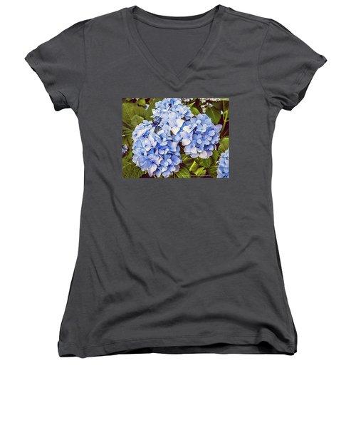 Chase Away The Blues Women's V-Neck T-Shirt (Junior Cut) by Nance Larson