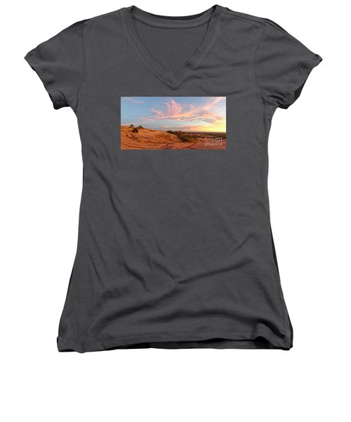 Chasing Angels Of Light Over Enchanted Rock - Fredericksburg Texas Hill Country Women's V-Neck