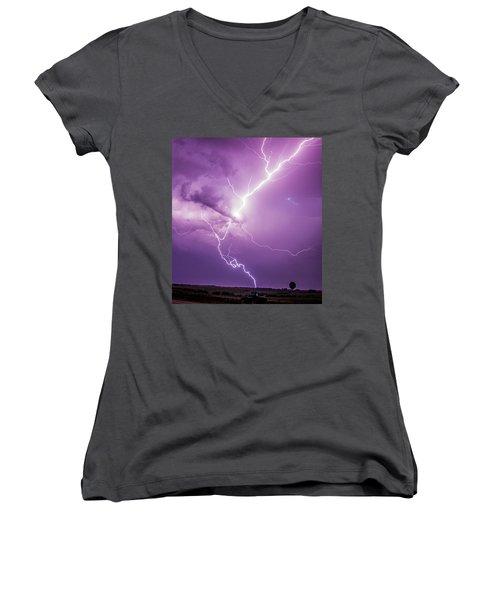 Chasing Nebraska Lightning 018 Women's V-Neck
