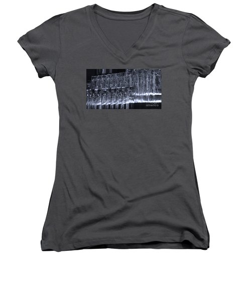 Chasing Waterfalls - Blue Women's V-Neck T-Shirt (Junior Cut) by Linda Shafer