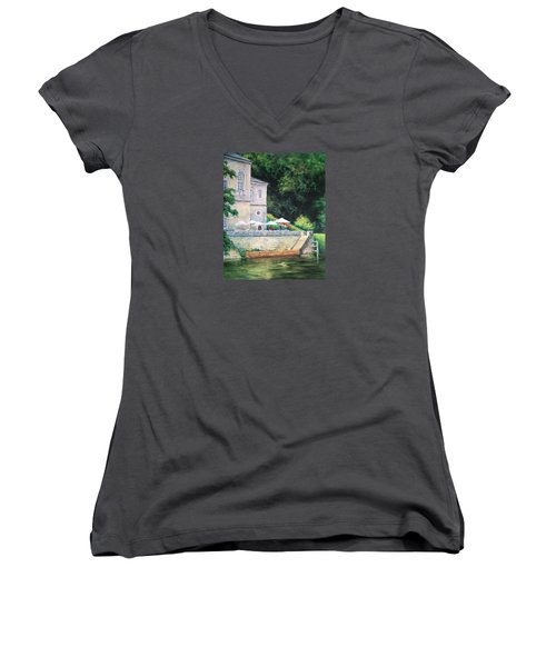 Chateau On The Lot River Women's V-Neck T-Shirt