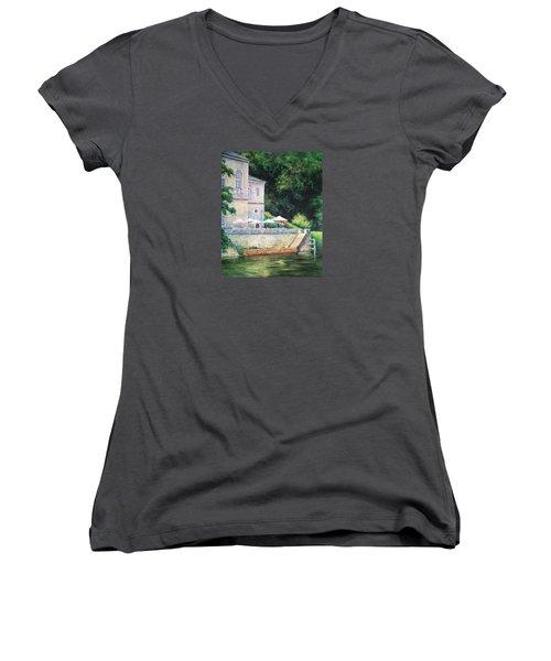 Chateau On The Lot River Women's V-Neck T-Shirt (Junior Cut)