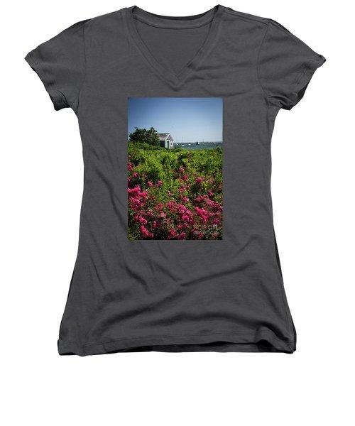 Chatham Boathouse Women's V-Neck T-Shirt (Junior Cut) by Jim Gillen