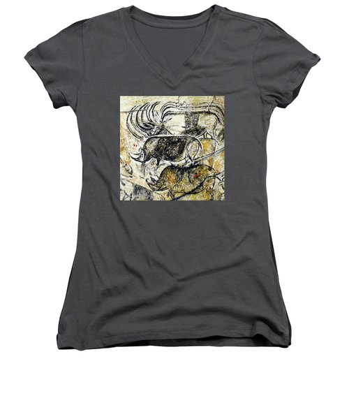 Chauvet Three Rhinoceros Women's V-Neck (Athletic Fit)
