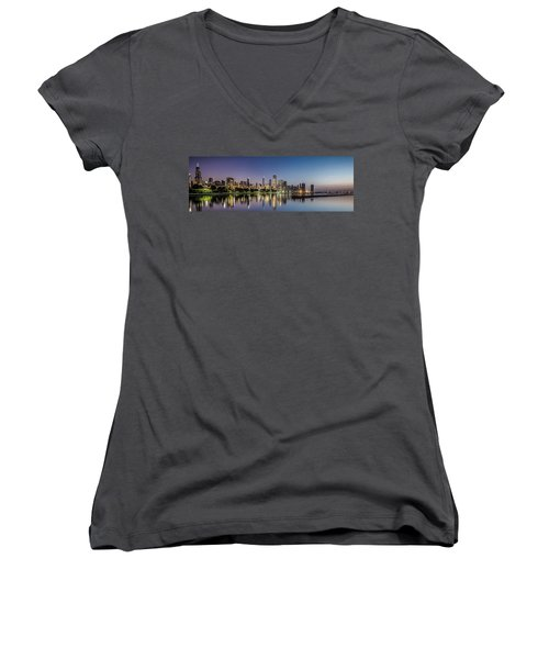 Chicago Skyline At Dawn With A Panoramic Crop  Women's V-Neck