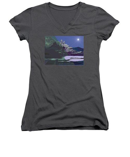Women's V-Neck T-Shirt (Junior Cut) featuring the digital art 1978 - Nowhere  by Irmgard Schoendorf Welch