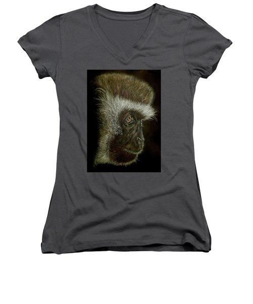 Cheeky Monkey Women's V-Neck T-Shirt (Junior Cut) by Heidi Kriel