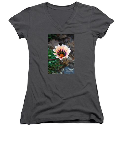 Women's V-Neck T-Shirt (Junior Cut) featuring the photograph Cheerful Flower by Debra Thompson