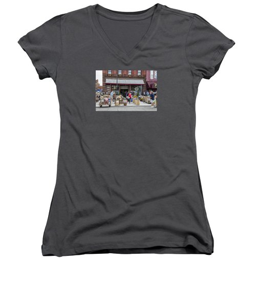 Cheese Shop In Detroit  Women's V-Neck T-Shirt (Junior Cut) by John McGraw