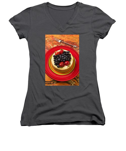 Cheesecake On Red Plate Women's V-Neck T-Shirt (Junior Cut) by Garry Gay