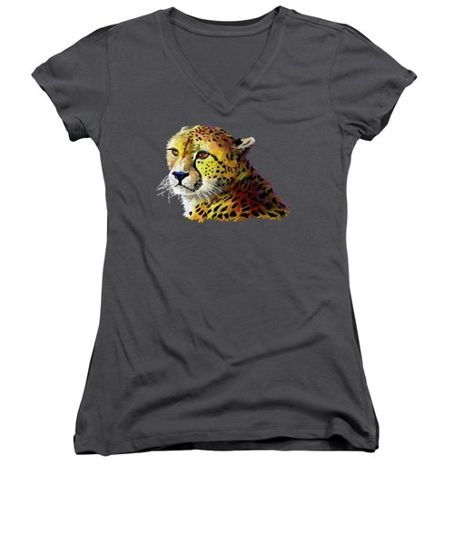 Cheetah Women's V-Neck T-Shirt (Junior Cut) by Anthony Mwangi